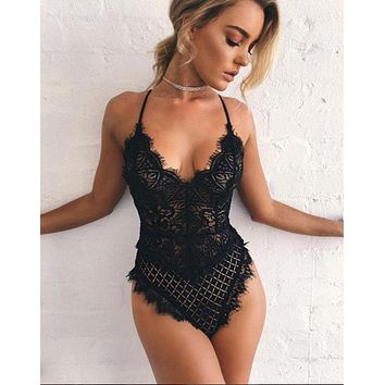 Lace Hollow Out Lingerie V-Neck Romper Jumpsuit