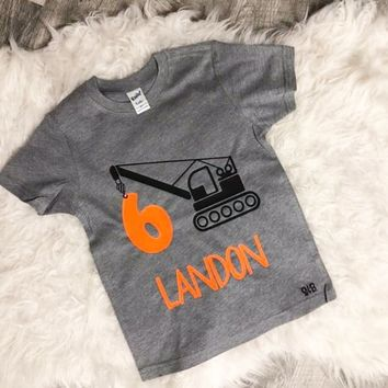 Customized Birthday Construction Truck Theme Kid's Shirt