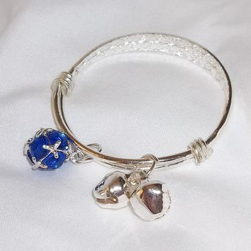 Baby Bracelet Hand Crafted S80 Silver Adjustable w/ Bells and September Birthstone