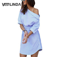 Shirt Dress Women Summer Vestidos De Festa One Shoulder Half Sleeve Stripped Dress