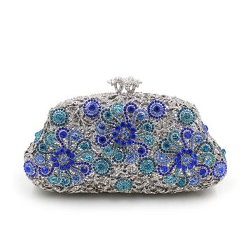 Women Luxury Sun Flower Purses Rhinestone Crystal Evening Bags