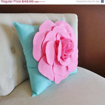 MOTHERS DAY SALE Throw Pillow Pink Rose on Bright Aqua Pillow 16 x 16
