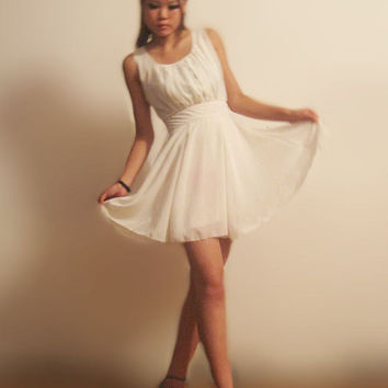 Elegant white chiffon mini dress(E49563167)