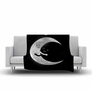 "Digital Carbine ""Moon Hug"" Black White Fleece Throw Blanket"