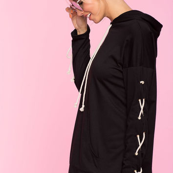 Lace Up Longline Sweatshirt