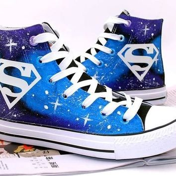superman shoes Hand Painted Shoes canvas shoes sneakers Hand Painted Shoes canvas shoe
