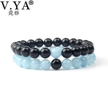 V.YA Couple Bracelets Bangles Flexible Size Lover's Jewelry Accessory Men 8MM Beads Bracelet