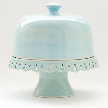 "Cake Stand and Dome - 7"" - Aqua - Lace - MADE TO ORDER"