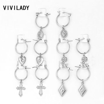 VIVILADY Boho 5pairs/set Small Round Hoop Earrings Women Silver Gold Color Heart Queen Rose Flower Snap Brincos Jewelry Gifts