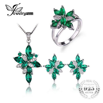 Jewelry Mystic Green Created Emerald Jewelry Set 925 Sterling Silver Ring Necklace Pendant Earring Clip Women Bridal Jewelry Set