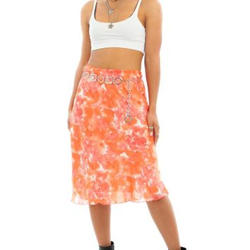 Vintage 90's Orange Blossom Midi Skirt - M/L