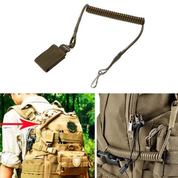Elastic Lanyard Rope Military Tactical Sling Lanyard Secure Spring Retention Rope With Magic Tape Belt Hunting Hanging Buckle