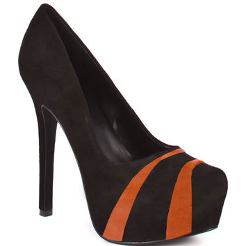 HERSTAR™ Black Orange Black Team Color Suede Pumps