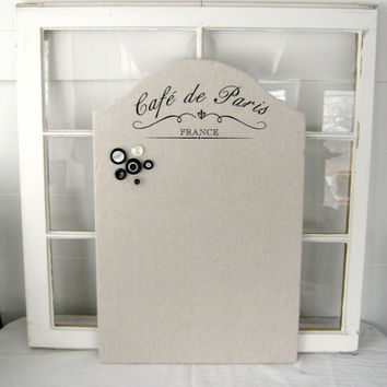 French Chic Memo Board - Shabby Chic - Cafe de Paris - French Decor - Memo Board - Bulletin Board - Cafe - French - Home Decor