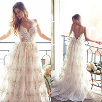 Sexy robe de Mariage Spaghetti Strap Boho Lace Wedding Dresses 2017 A-Line Backless Bohemia Bridal Gown Beach Wedding Dress LU01