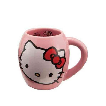 Vandor 18062 Hello Kitty 18 oz Oval Ceramicl Mug, Pink, White, and Red