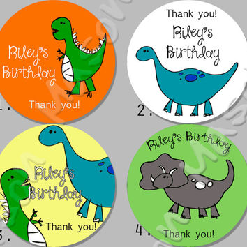 "Birthday Party or Shower Dinosaur theme - Mason Jar Labels 2"" or 2.5"" round"