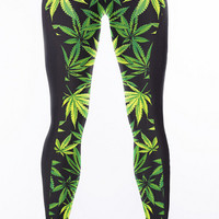 Leaf Printed Hight Waist Casual Sports Yoga Elastic Pants + Free Shipping
