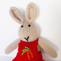 Knit Bunny Rabbit, Hand Knit Stuffed Animal, Knit Toy, Ready To Ship, Toddler Gift, Baby Gift, Handmade Toy, Plush Bunny Doll, Kids Toy 15""