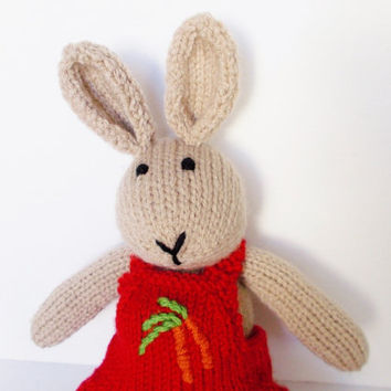 """Knit Bunny Rabbit, Hand Knit Stuffed Animal, Knit Toy, Ready To Ship, Toddler Gift, Baby Gift, Handmade Toy, Plush Bunny Doll, Kids Toy 15"""""""