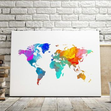 Colorful Boy Watercolor World Map Nordic Posters And Prints Wall Art Canvas Painting Kids Wall Pictures For Living Room Bedroom