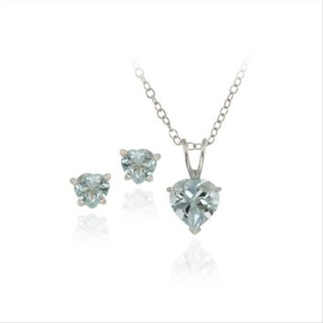 925 Silver 2.4ct Blue Topaz Heart Solitaire Pendant & Stud Earrings Set