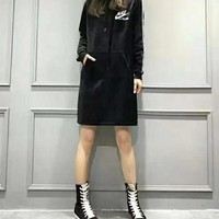 """Nike"" Women Casual Fashion Letter Print Middle Long Section Long Sleeve Hooded Sweater Mini Dress"
