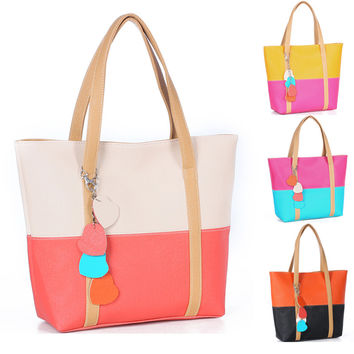 Sweet Blend Candy Color New Fashion Women Leather Handbags Shoulder Bag