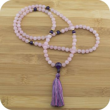 Rose Quartz Mala Bead Necklace with Amethyst