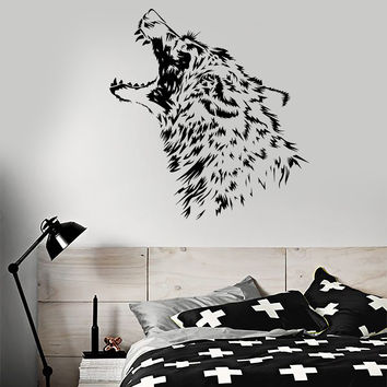 Vinyl Wall Decal Predator Wolf Fangs Aggressive Animal Stickers Unique Gift (960ig)