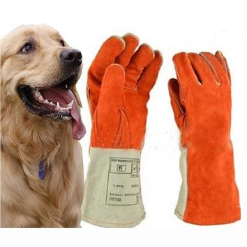 Thicken Leather Anti-bite gloves tactical animal training feeding for dog cat snake eagle bite anti-scratch protect safety glove