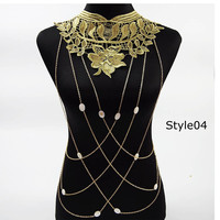 Lace Flower Design Gold Body Chains
