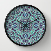 Chalkboard Floral Pattern in Teal & Navy Wall Clock by Micklyn