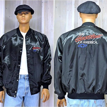 Vintage Chevy jacket  XL  2X /  80s Chevrolet bomber jacket / Chevy windbreaker / gift for chevy enthusiast