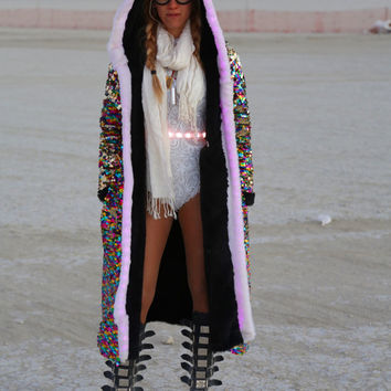 LED light up faux Fur Lined Sequin Sparkle hoodie Jacket, Burning Man Festival Coat Mens and Womens