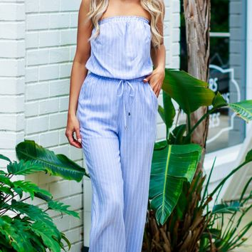 Striped Strapless Jumpsuit Light Blue