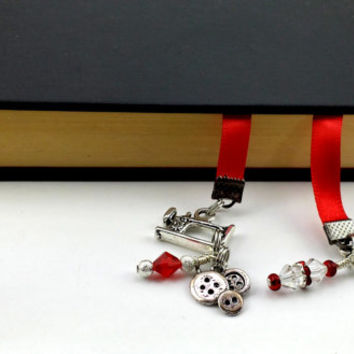 Ribbon Bookmark - Sewing Charms - Red Ribbon - Book Thong - Swarovski Crystal - Silver Sewing Charms, Sewing Machine Charm, Button Bookmark,