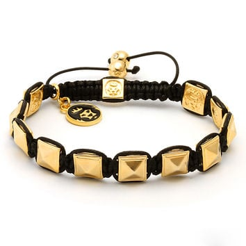 King Ice 14K Gold Pyramid Bracelet