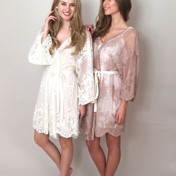 HELENA - Blush pink lace kimono - getting ready bridal kimono, wedding day, lingerie, trousseau, honeymoon, wedding lingerie
