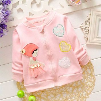 Fashion Autumn Winter Baby Infants Girls Children Kid's Heart Lace Velvet Outwear Coat Jackets Cardigan S2218