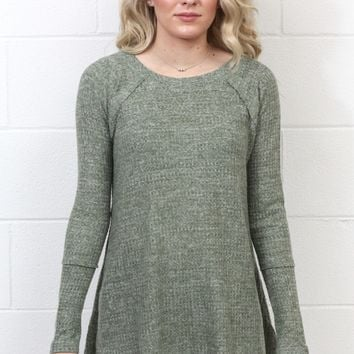 Thermal Sweater Hi-Lo L/S Top {Sage}