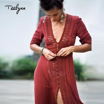 TEELYNN Boho long dress new vintage Floral Lace stitching sexy v-neck summer Dresses beach wear hippie Women dress vestidos