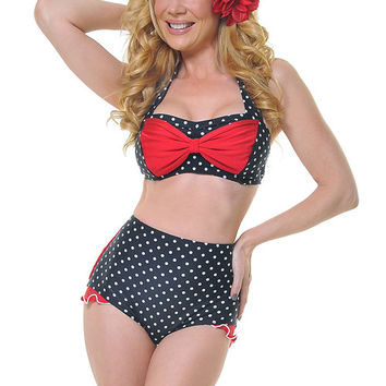 Black & White Polka Dot With Red Shirley Swimsuit Bottom - Unique Vintage - Prom dresses, retro dresses, retro swimsuits.
