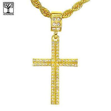 """Jewelry Kay style NEW Men's Hip Hop Iced Out Cross Pendant 22"""" Rope Chain Set HC 1129 G"""