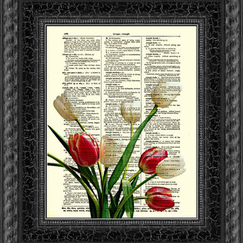Dictionary Art Print, Tulip Art Print, Red and White Tulips, Vintage Dictionary Page