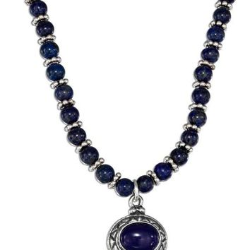 "Sterling Silver Necklaces: 16"" Lapis Beaded Liquid Silver Oval Lapis Necklace"