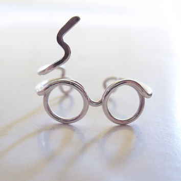Harry Potter Ring  Glasses Ring Lighting Scar  by LiuRokSilver