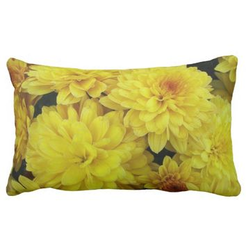 Yellow Mums Floral Photo Lumbar Throw Pillow