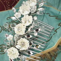 Bridal Hair Accessories-Porcelain Rhinestone Bridal Comb