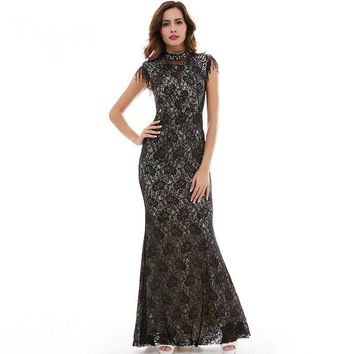 Mermaid evening dress high neck beading cap sleeve floor length dresses women party black lace formal evening gown